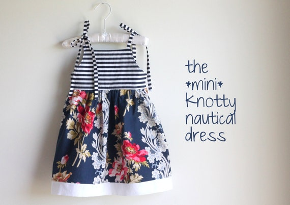 Navy & White Striped Nautical shoulder tie baby/toddler girls dress, size NB, 3 months, 6 months, 9 months, 12 months, 18 months