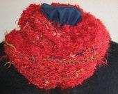 Hand Knit Cowl, Mobius Infinity Cowl, Luxurious, Reds, Mobius Cowl, Novelty Yarns, Handmade, Gift, Wrap, Collar, Silvery Metallic Yarn