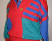 Hand Knit Sweater, Swedish Ski Sweater, Washable Wool, Bright Colors, Blue Red Green, Color Block Sweater, Contemporary Design, Handmade