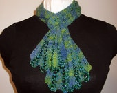Hand Knit Beaded Scarf, Victorian Style, Beaded, Yellow Green, Blues, Handmade, Elegant, Glass Seed Beads, Hand Dyed Wool Blend Yarn, Gift