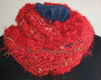 Hand Knit Cowl, Mobius Infinity Cowl, Luxurious, Reds, Mobius Cowl, Novelty Yarns, Handmade, Wrap, Infinity Scarf, Silvery Metallic Yarn