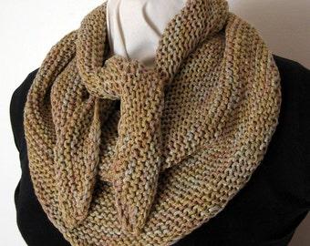 Hand Knit Triangular Scarf, Shawl, Rose Beige Gold, Metallic Ribbon Yarn, Elegant Scarf, Hand Dyed Yarn, Handmade, Sophisticated Accessory