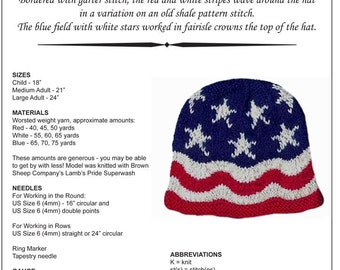 Knitting Pattern, Hand Knit Hat, Waves of Glory, American Flag Hat, Pattern PDF, Written Row by Row, Charted, Digital Download, Original
