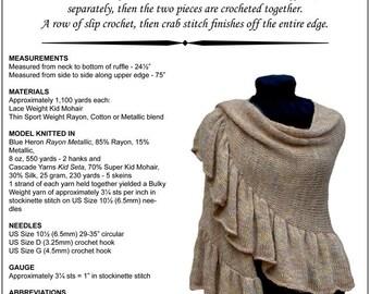 Knitting Pattern, Ruffled Shawl, Crescent, Knitting Pattern PDF, Stockinette Stitch, Crochet, Easy Instructions, Instant Digital Download