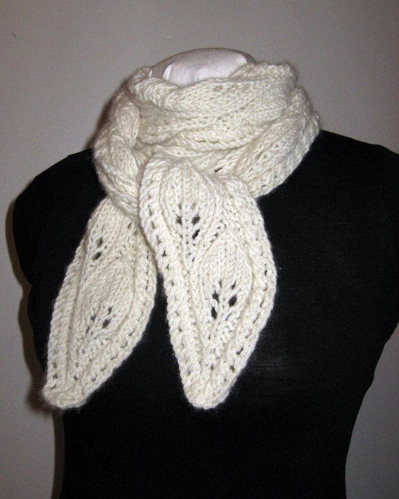 Hand Knit Lacy Cashmere Scarf Cascading Leaves Lace by yarnyoda