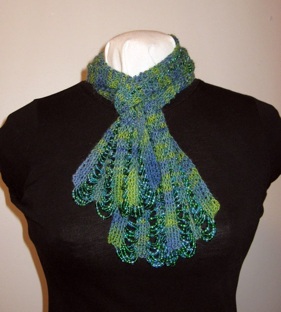 Hand Knit Beaded Scarf Victorian Style Beaded Yellow Green