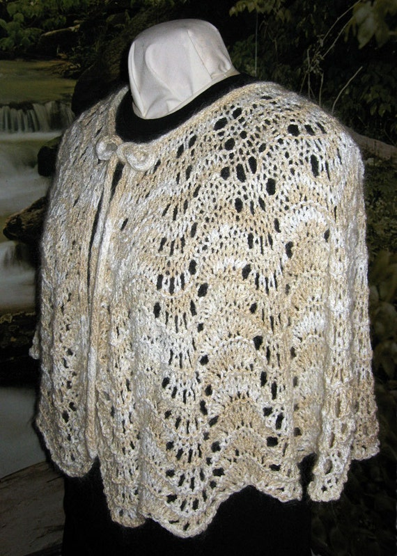 Knitting Pattern Hand Knitting Capelet Feather Fan Lace