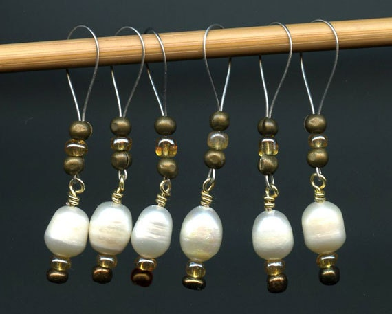 Knitting Stitch Markers Snag Free Freshwater Pearls Glass Beads