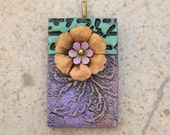 Mixed Media Pendant Purple Brass Flower Bronze Lavender Black Green Floral Pendant