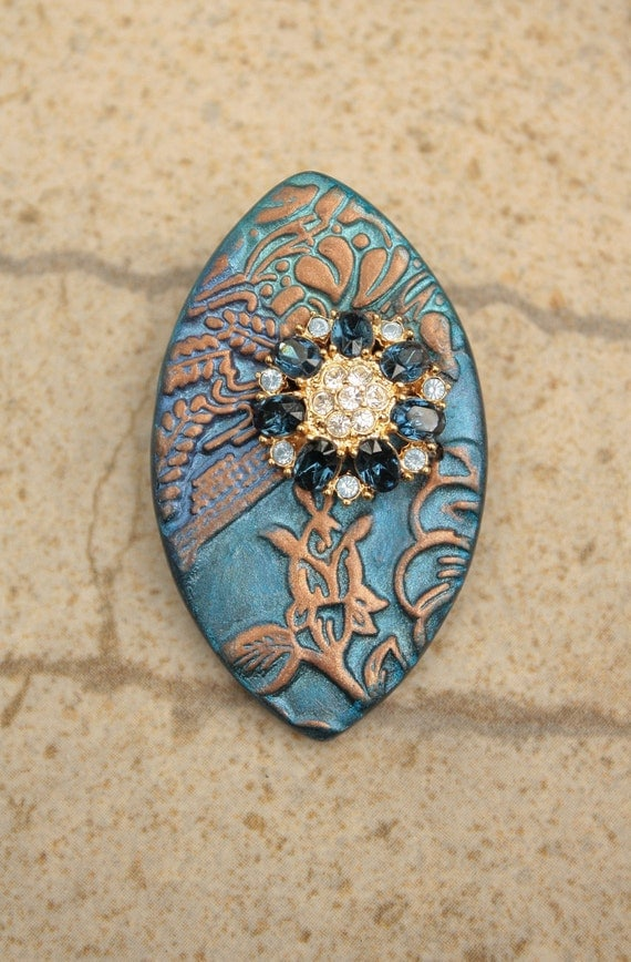Vintage Rhinestone and Flower Bud Brooch Floral Pin Mixed Media Brooch Blue Turquoise Bronze