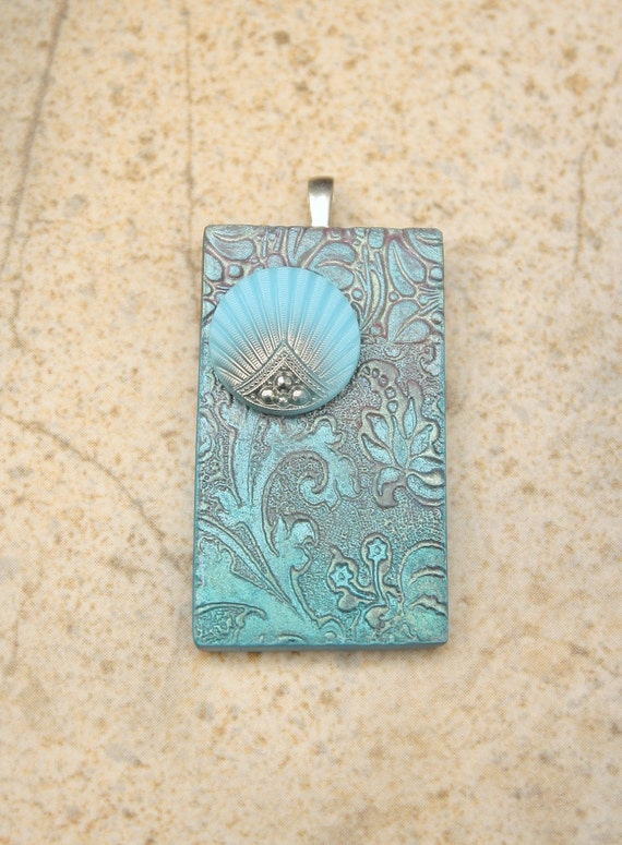 Shabby Chic Pendant Silver Sage Green Turquoise One of a Kind Pendant