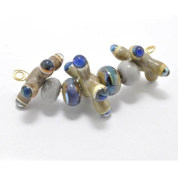 Charcoal Jacks :  Handmade Lampwork Beads