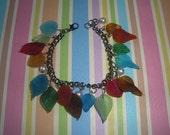 Rainbow Leaves Charm Bracelet