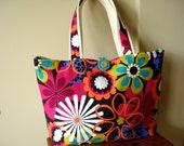 SALE-  Tote Bag. Shoulder Bag.   Floral.  Fuschia.  Lime Green.  Turquiose.   Cotton