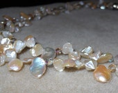 10% off Sale - Peach Keshi Pearl Double Strand Necklace