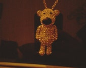 Gold and Rhinestone encrusted teddy bear pendant and chain