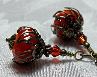 Burnt Orange Pumpkin Crystal Dangle Drop Steampunk Earrings Antique Bronze Filigree Titanic Temptations Vintage Victorian Bridal Jewelry