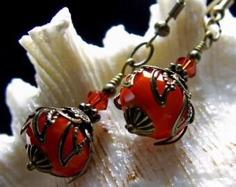 Burnt Orange Renaissance Earrings, Pumpkin Red Dangle Victorian Bridal Drops, Steampunk Antiqued Brass Filigree Titanic Temptations 11024