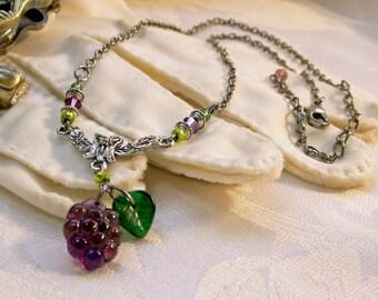 Purple Grape Cluster Pendant Victorian Choker, Purple Crystal Edwardian Drop Necklace Green Leaf Antiqued Silver Titanic Temptations Jewelry