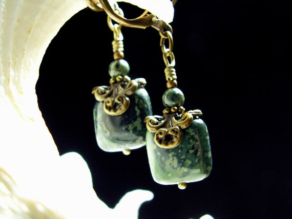 Forest Green Jasper Gemstone Crystal Earrings Steampunk Jewellery Vintage Victorian Bridal Style