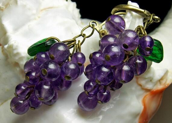 Genuine Amethyst Purple Gemstone Grape Cluster Crystal Earrings Steampunk Jewellery Vintage Victorian Bridal Style