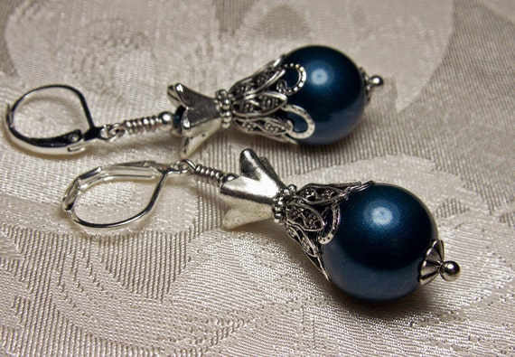 Peacock Petrol Blue Crystal Pearl Silver Earrings Steampunk Jewelry Antique Vintage Victorian Bridal Style