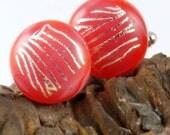 cufflinks -dichroic glass- red swirl uk seller