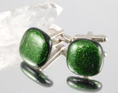 Green sparkle fused glass cuff links christmas party