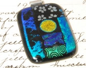 huge dichroic glass pendant with golden moon with choker and presentation box