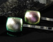pair dichroic glass bobby pins metallic green pink uk seller