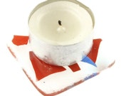 red white and blue patriotic mini fused glass tea light coaster uk seller