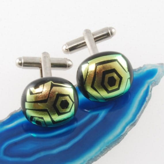funky dichroic glass cufflinks with gold tinted geometric pattern uk