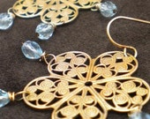 Shimmering Blue Topaz Chandelier Earrings