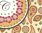 Paisley Flower Note Cards in Autumn Colors (8 in a package)