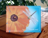 Poppy and Dragonfly Thank You Notes (8 in a package)