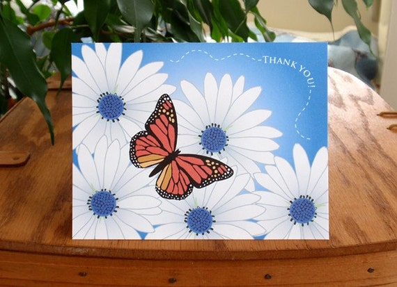 Daisy and Butterfly Thank You Notes (8 in a package)