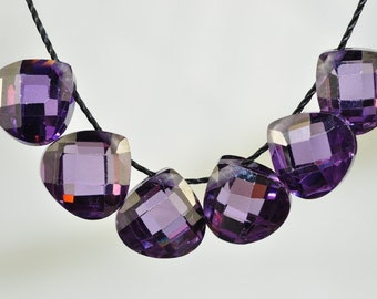 Listed @15% Off Sale Was 11.99 ---6 Pieces 8x8x4mm Amethyst Purple CUBIC ZIRCONIA Faceted Pear Briolette Beads Pendants- L0181E