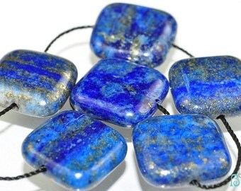Listed @ 15% Off Sale Was 10.99 ---6 Pieces 14x5mm PYRITE LAPIS LAZULI Puffy Square Beads Pendants N0195E