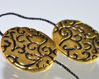 2 Pieces 19x3mm 22k Gold Plated PEWTER VINE Scroll Coin Disc Beads Pendant -R0554E