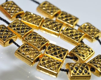 16 Pieces 8x6mm 22k Gold Plated PEWTER Dimpled Basket Weave Rectangle Bead -Q0554E