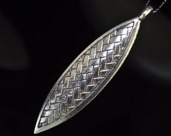 15x63x2mm SILVER PEWTER Basket Weave Design Large Leaf Pendant - C0555E