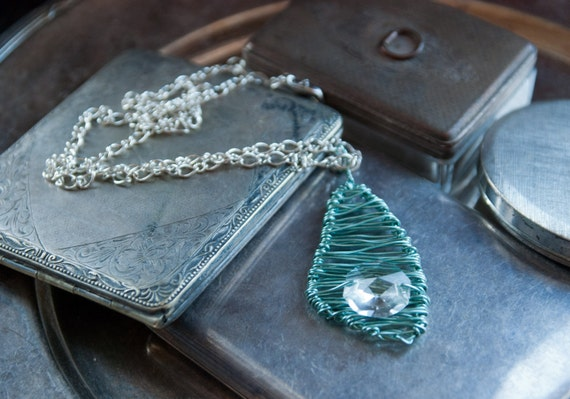 Necklace Pendant - Splinter Series- Chunky in Minty Green and Transparent