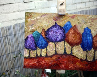 Original Oil Painting, Trees: Forest of Colourful Trees, Autumn / fall