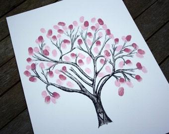 WEDDING TREE: Wedding guest book alternative, personalised original hand drawn cherry blossom fingerprint tree not a computer print out