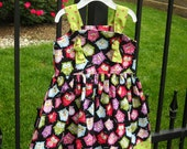 Knot Dress-  Pink/Green/Owls -18-24 mos- READY TO SHIP