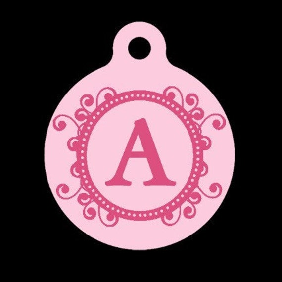 Custom Pet ID Tag - Fancy Initial - Pet Tag - Dog Tag - Cat Tag - Luggage Tag - Child Id Tag
