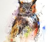 GREAT HORNED OWL Watercolor Print by Dean Crouser