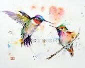 HUMMINGBIRD PAIR Ceramic Tile by Dean Crouser