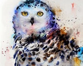 SNOWY OWL 8 x 10 Colorful Ceramic Tile