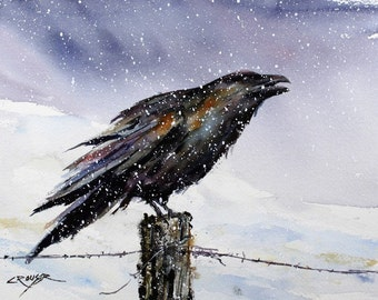RAVEN Watercolor Bird Art Print by Dean Crouser